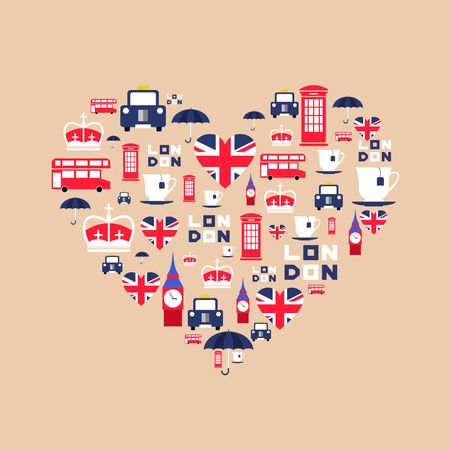 british culture: London icons in flat style arrange in the form of heart. England icons isolated on background. Vector iilustration