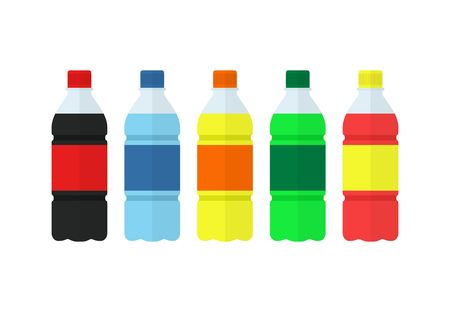 aerated: Soda, water and juice or tea bottles. Set of bottles icons. Nature drinks in flat style isolated on white background. Soda vector illustration