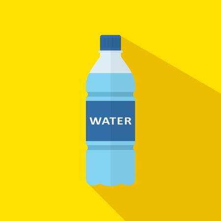 Bottle of water icon with long shadow in flat style isolated on yellow background. Vector illustration
