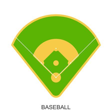 棒球场图标。绿草如茵的棒球运动场,在平坦的风格上孤立的白色