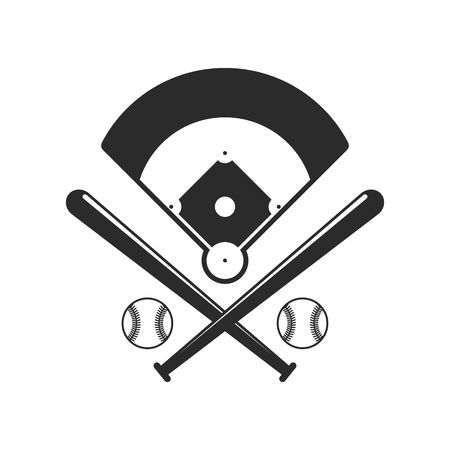 Baseball icons. Field, bals and baseball bats in flat style isolated on white