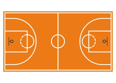 Basketball court. Field isolated on white background. Illustration