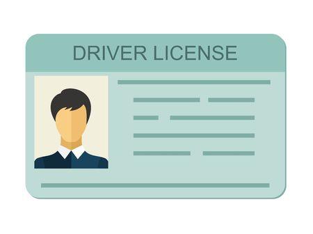 Auto rijbewijs identiteitsbewijs met foto op een witte achtergrond, rijbewijs voertuig identiteit in vlakke stijl.