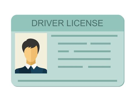 driver license: Car driver license identification with photo isolated on white background, driver license vehicle identity in flat style.