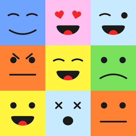 user friendly: Set of colorful cartoon faces emoticons. Cartoon style smiles in flat style