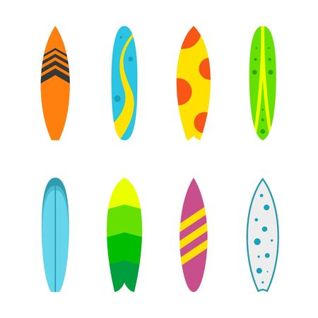 wood board: Set of surfboards with different designs in a flat style isolated on white background. Summer sport surfing board activity wave extreme collection and surfing wood board. Illustration