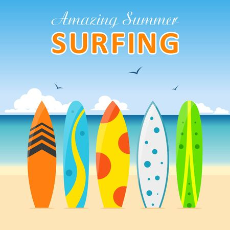 surfing board: Set of surfboards with different designs on the beach in a flat style isolated on white background. Summer sport surfing board activity wave extreme collection and surfing wood board. Illustration