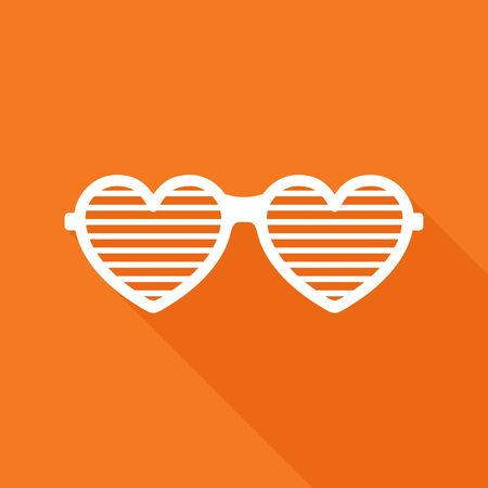 brindled: Shutter glasses. Concept of brindled or latticed sunglasses, fashionable accessory, summer youth glasses. Shutter shades sun glasses on orange background with shadow