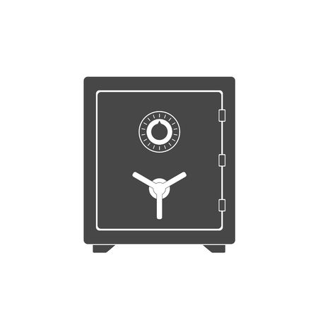 Safe vector icon in a flat style. Safe metal box money secure and safe money concept symbol. Security finance steel safe treasure storage. Closed safe isolated on a white background Vectores