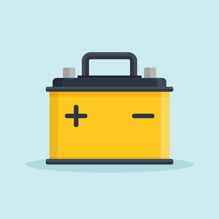 Car Battery icon. Accumulator battery energy power and electricity accumulator battery. Battery accumulator car auto parts electrical supply power in flat style. Illustration