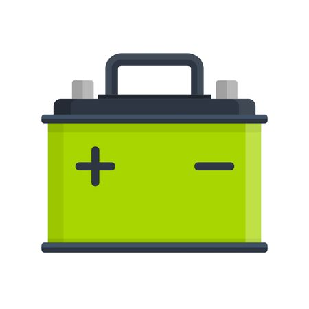 amperage: Car Battery icon isolated on white background. Accumulator battery energy power and electricity accumulator battery. Battery accumulator car auto parts electrical supply power in flat style.