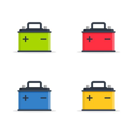 electrical parts: Set Car Battery icons isolated on white background. Accumulator battery energy power and electricity accumulator battery. Battery accumulator icon car auto parts electrical supply power in flat style.