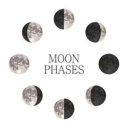 Fases de la luna la noche el espacio astronomía y la naturaleza fases de la luna sombra esfera. Todo el ciclo de luna nueva en luna llena. ilustración vectorial menguante