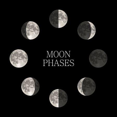 Phases de lune nuit astronomie spatiale et de la nature phases de lune sphère ombre. L'ensemble du cycle de la nouvelle lune à la pleine lune. Gibbeuse illustration vectorielle Banque d'images - 58729630