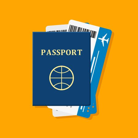 vocation: Passport with tickets on orange. Passport and tickets travel, tourism business vacation, trip pass tourist flight symbol. Holiday passport and tickets in flat style, vocation concept vector illustration Illustration