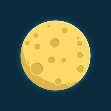 circle objects: Moon in flat dasign style. Night space astronomy and nature moon icon. Gibbous vector on dark background. Cartoon planet moon icon. Science astronomy Earth satellite in space vector illustration