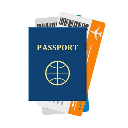 vocation: Passport with tickets isolated on white background. Passport and tickets travel, tourism business vacation, trip pass tourist flight symbol. Holiday passport and tickets in flat, vocation concept vector.