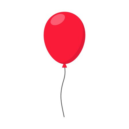 helium: Red Balloon in flat style carnival happy surprise helium string. Air balloon isolated on white background