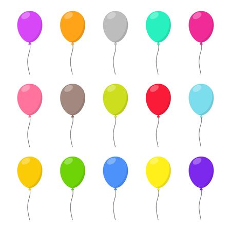 helium: Colorful Balloons set in flat style carnival happy surprise helium string. Air balloon isolated on white background. Balloons set different colors group for birthday party anniversary celebration. Illustration