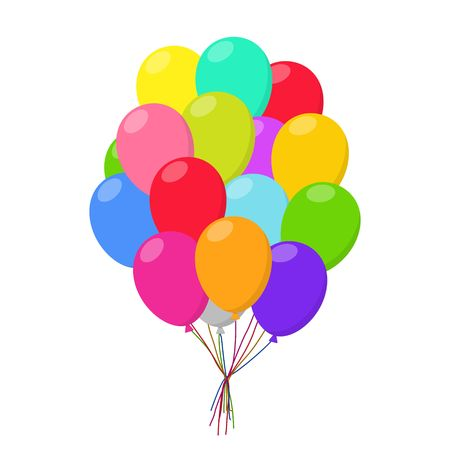 Air balloons group in flat style carnival happy surprise helium string. Bunch colorful balloons isolated on white background. Balloons set group for birthday party anniversary celebration. Illustration