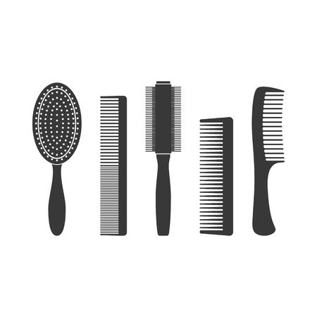 Hair combs and hairbrushes set icons isolated on a white background. Fashion equipment collection hairbrush and style comb icon hairdresser vector. Care for themselves in flat style Vectores