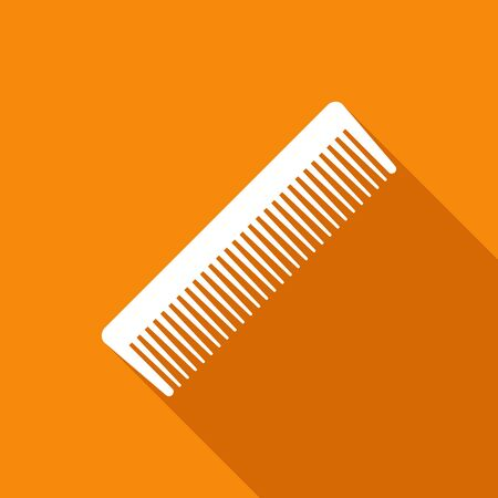 styling: Fashion comb icon and style comb hairdresser care icon equipment. Hair barber comb for styling accessory in flat style on orange background with shadow. Care for themselves Illustration
