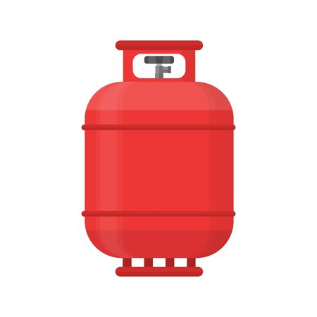 compressed gas: Gas tank icon in flat style. Propane cylinder pressure fuel gas lpd isolated on white background.