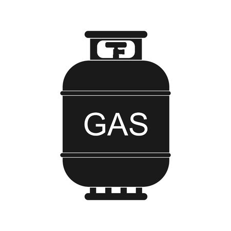 lpg: Gas tank icon in flat style. Propane cylinder pressure fuel gas lpd isolated on white background.