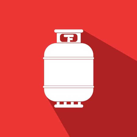 gas tank: Gas tank icon in flat style. Propane cylinder pressure fuel gas lpd on red background with shadow. Illustration