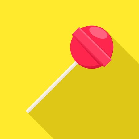 licking in isolated: Lollipop sweet food in flat style on yellow background with shadow. Red lollipop sugar candy dessert vector. Illustration