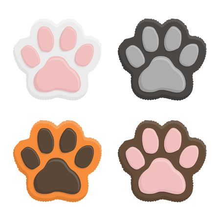 Set kitten paws. Animal cat paw print in flat style isolated on white background. Vector illustartion