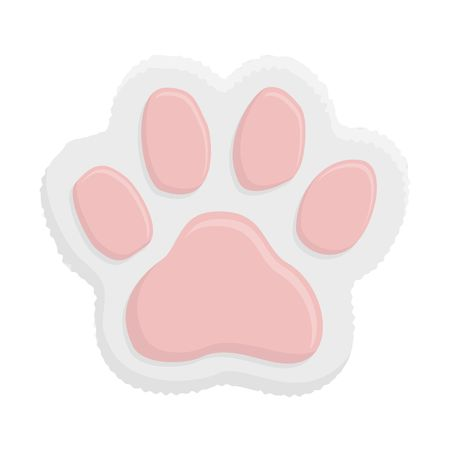 White kitten paw. Animal cat paw print in flat style isolated on white background.