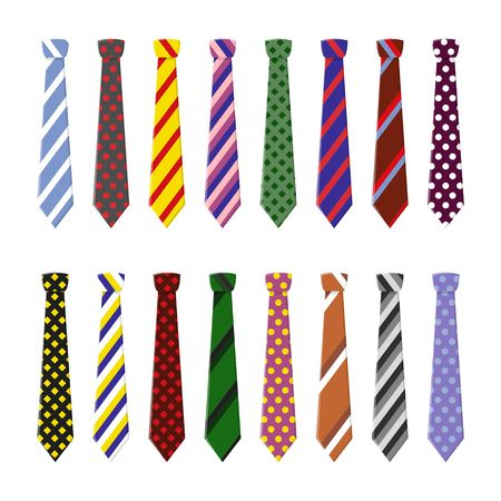 casual attire: Set neck ties for business and casual attire. Tie in flat style isolated on white background. Illustration