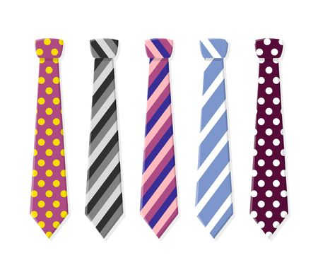 attire: Set neck ties for business and casual attire. Tie in flat style isolated on white background. Illustration