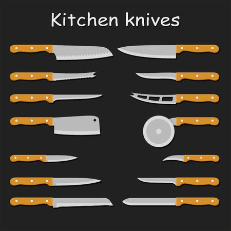 sharp: Set of steel kitchen knives carving, paring, and utility sharp tool cooking equipment collection. Sharp kitchen knife vector illustration isolated on black background