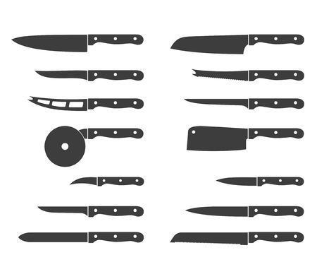 carving tool: Set of steel kitchen knives icons carving, paring, and utility sharp tool cooking equipment collection. Sharp kitchen knife icon vector illustration isolated on white background