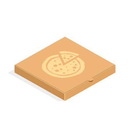 pizza box: caja de pizza envases de cartón de Brown en estilo plano. Caja de cartón para la pizza aislada en el fondo blanco.