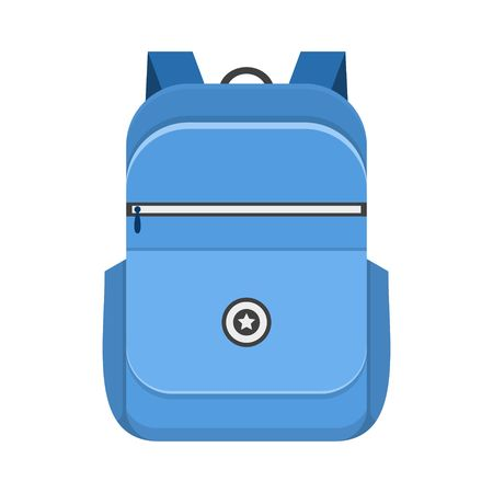 schoolbag: Backpack isolated on white background. School bag handle strap sack in flat style. Blue schoolbag supplies educational