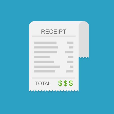 receipt: Receipt vector icon in a flat style. Invoice icon, total bill icon with dollar symbol on blue background Illustration