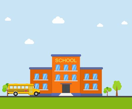 front yard: Classical school building and school bus on blue background. Front yard with trees. Buildings for city construction education vector in flat style Illustration