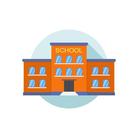 front yard: Classical school building icon isolated on white background. Front yard. Building school icon for city construction education vector in flat style