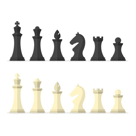 Set black and white chess pieces isolated on white background. Chess pieces including the king, queen, bishop, knight, rook and pawn in flat style.