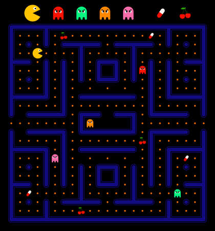 classic monster: Pacman game with ghosts, pill and cherry. Maze and user interface. Video game