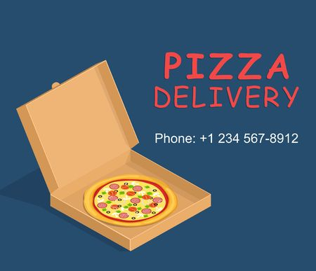 pizza box: Pizza box delivery service. Brown carton packaging box with pizza in flat style. Illustration
