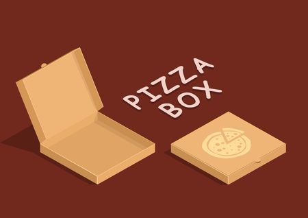 pizza box: Brown carton packaging pizza box in flat style. Cardboard empty open and close pizza boxes isolated on dark background. Vectores