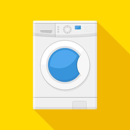 lavadora con ropa: icono de la máquina de lavado aislado en fondo amarillo. Equipo de trabajo de casa lavar la ropa de lavandería. icono de la lavadora en estilo plano.