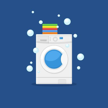 clothes washer: Washing machine and towels linen isolated on blue background. Equipment housework laundry wash clothes. Washer and flying bubbles in flat style. Illustration