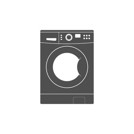 clothes washer: Washing machine icon isolated on white background. Equipment housework laundry wash clothes. Washer icon in flat style.