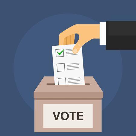 Votez pour le concept d'élection sur bleu foncé. Main place le bulletin de vote dans l'urne dans un style plat Vecteurs