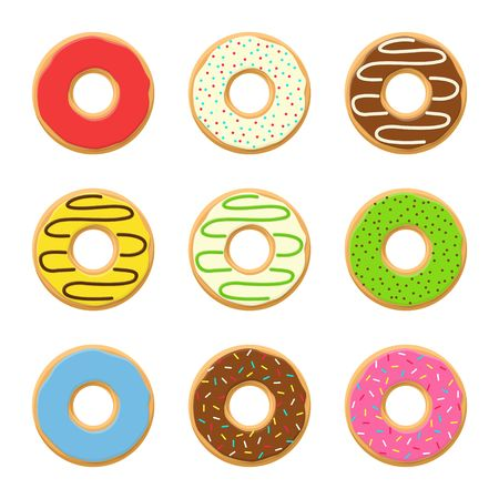 yummy: Set sweet colorful vector donuts isolated on white background. Chocolate yummy cookie donuts food. Candy decoration color donuts collection. Glazed pastry delicious snack, eat candy.